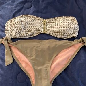 Tan and white bikini